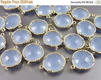 15% OFF 2 periwinkle 12mm glass connectors / light blue purple faceted round glass connectors 5014G-PW-12 (bright gold, periwinkle, 12mm, 2