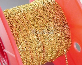Top seller! 1 meter 2mm x 1.6mm high quality gold plated brass cable chain, bulk chain, gold chain, jewelry chain B008-BG