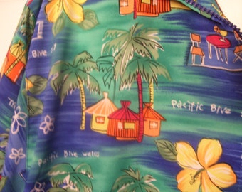 Vintage 80s, Island Resort Windbreaker, Napa Valley, Size L, Washable, Tropical Garden Print, Zipper Front, Summer Beach Wear, Lightweight