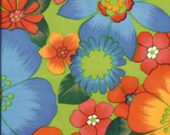 Flora on Lime Green Oilcloth Fabric 12 yard Roll