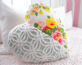 SWEETEST VINTAGE CHENILLE And Vintage Floral Fabric Heart Shaped Pillow