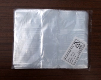 """100 - 6"""" x 8"""" Elkay 15F-0608 Flat Poly Bags 1.5 Mil Clear Parts Packaging Shipping Mailing Etsy Shop Supply Crafts Food Jewelry Beads Coins"""