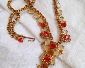 Juliana Givre Rhinestones Necklace Orange Accents