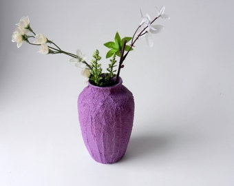 purple  vase / small vase / bud vase /  purple home decor / stained concrete vase