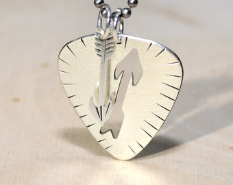 Sterling silver guitar pick necklace with handsawed arrow charm pendant - solid 925 NL217