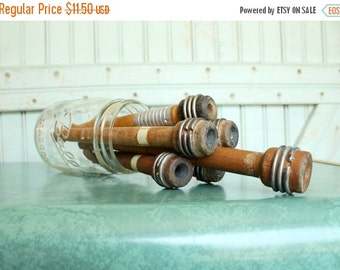 SALE Today 6 Vintage Industrial Wooden Thread Spools - Set of Six - Organize Trim Notions Yarn Decorate Ring Display