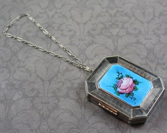 Vintage Silver Blue and Pink Rose Guilloche Enamel Cosmetics Compact