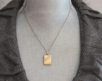 Vintage Etched Book Locket 12K Gold Filled Pendant Necklace
