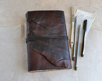 Rustic Distressed Leather Journal with Mixed Media Paper
