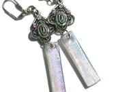 Dichroic Earrings, Dangle Earrings, Fused Glass Earrings, Rainbow Colors , Filigree Dangle Earrings