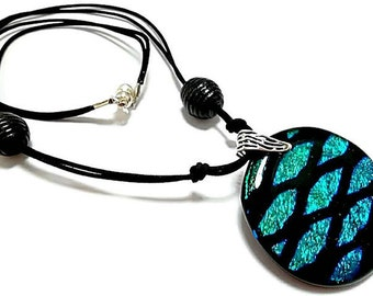 Fathers Day/Dichroic Glass Pendant/Fused Glass Pendant/Necklace/Men's Round Dichroic Fused Glass Necklace On Leather/Teal Blue, Black