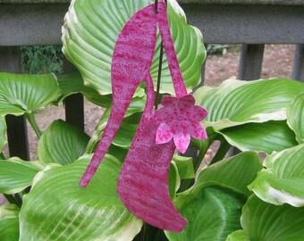Metal Garden Art - Shoe - Original Repurposed Metal Stake Hand Painted Pink Yard Art