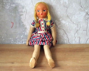 "Vintage Shabby Doll - 1950s Cloth Body Doll - 18"" Blonde Haired Doll"