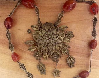 Beautiful Are Deco Old Chinese Sterling Silver Filigree Flower Carnelian Antique Necklace