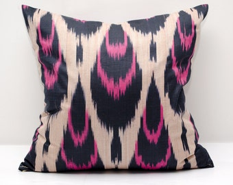 14x14 pink black ikat pillow cover, ikat pillows, pink cushion, case, cotton pillow cover, decorative pillow, pink pillows, ikats