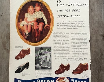 1941. Vintage Buster Brown Shoes Ad. 20 Years From Now Will They Thank You for Good Strong Feet. Authentic Advertisement. 1940s