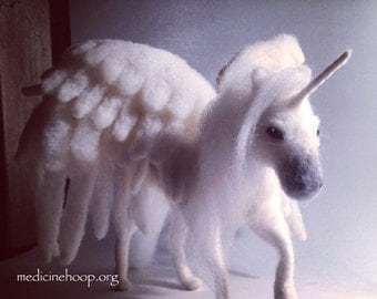 Custom. Pegacorn. Unicorn. Felt. Sculpture. White. Wings. Pegasus