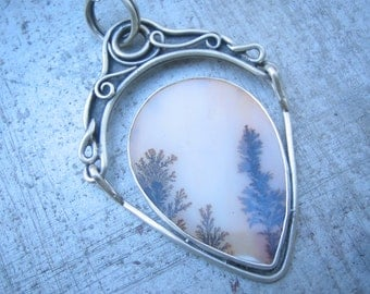 Hand Fabricated Dendritic Agate Hinged Pendant Art Nouveau Sterling Silver One of a Kind
