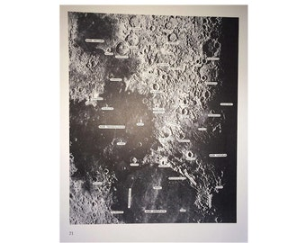 1968 lunar surface original vintage celestial astronomy print - photographic sections of the moon pl 71