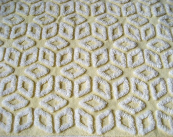 "Hofmann Pale Banana Yellow and White Star / Tumbling Blocks Vintage Chenille Bedspread Fabric 19"" x 29"""