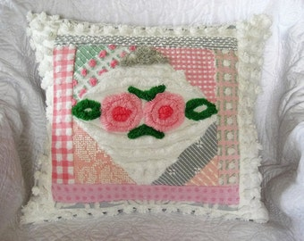 """Lollipop Roses Pink and Grey Collage Vintage Chenille Pillow - Insert included 19"""" x 20"""""""