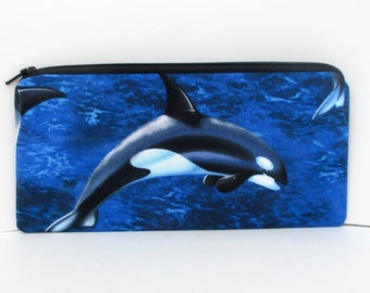Orca Whale Friends, Long Zipper Pouch, Pencil Pouch