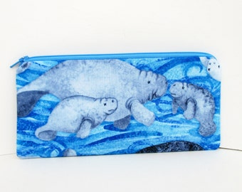 Manatee Pencil Pouch, Zippered Bag in Ocean Blue