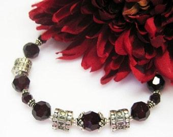 40% off Garnet Swarovski Crystal Bracelet - Gift Idea - Garnet Bracelet - January Birthstone - Birthstone Jewelry - Plus Size - Sterling Sil