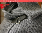 Winter Sale 15% Off!!! Grey stripes warm  hood sweater with dark grey leather claps