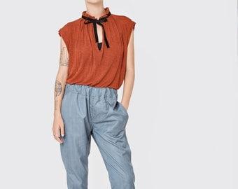 NEW SUMMER 2016!!! Glossy grey/blue boyfriend pants, stretch waist band,  light wool and silk blended stripes  boyfriend cut pants