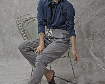 Grey tying stone washed denim cotton baggy pants