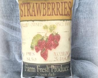 Mini Strawberry print pillow   Vintage strawberry advertisment