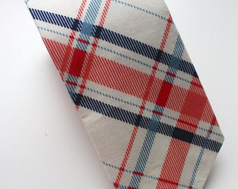 Little Guy Necktie Tie - Navy and Coral Collection- Navy and Coral Plaid- (4-6 years) - Boy Toddler (Ready to Ship)