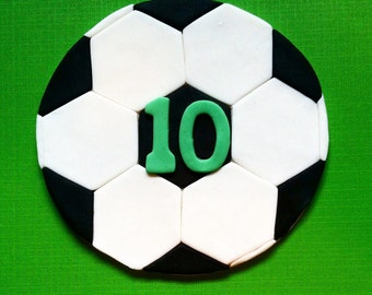 "Soccer Ball fondant cake topper (for a 6"" cake) - Soccer party - Soccer ball cake topper - Soccer gift - Fondant soccer ball - Birthday"