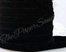"""Black Velvet Ribbon, 3/8"""" wide, Ribbon by the yard, Sewing, Crafts, Christmas Ribbon, Velvet Trim, Gift Wrapping, Weddings, Party Supplies"""