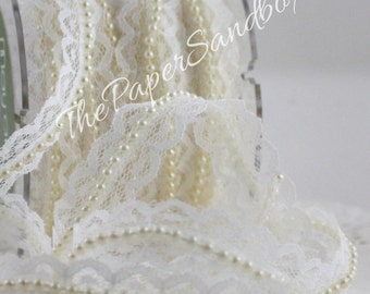 "Ivory Lace Ribbon Pearl Center, 3/4"" wide, Ribbon by the yard, Lace Trim, Weddings, Sewing, Wedding Dress, Gift Wrapping, Baby Trim, Sewing"