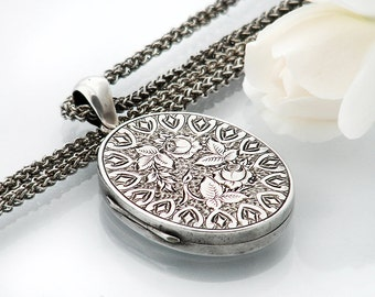 Antique Sterling Silver Locket | Victorian Locket | Hand Chased Roses | Large Oval Locket Necklace - Heavy 26 Inch Long 925 Silver Chain