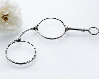 Antique Lorgnette Magnifying Glasses | Silver Edwardian Folding Glasses | Chatelaine Magnifier Hobby Magnifiers