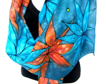 """Silk Scarf Handpainted, Hand Painted Silk Scarf, Petroleum Teal Turquoise Orange, Floral Silk Scarf, 71"""" x 18"""", Gift For Her"""
