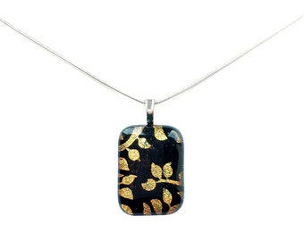 Pendant Necklace, Gold Metallic Leaves and Vines, Dichroic Jewelry