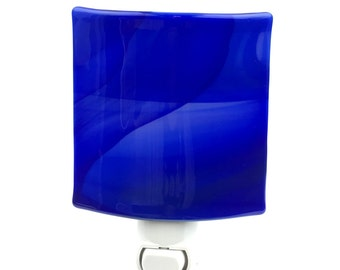 Night Light, Stained Glass Shade, Cobalt Blue, Contemporary Decor