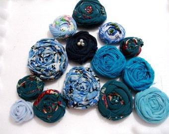 Blue Wedding Flowers handmade bulk flowers rolled fabric flowers 14 pcs