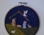 Nativity scene - embroidered, felt, buttons, Baby Jesus - small