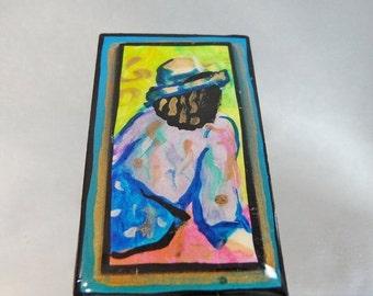 SALE Vintage Abstract Art Brooch Portrait Pinks, Blues, Greens. Gilt. Aqua.