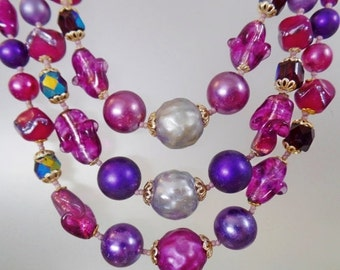 FALL SALE Vintage Glass Bead Necklace.  Silver Satin Lucite and Purple Glass Beads. Seed Beads. Japan.