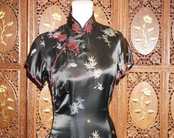 1970s Black Oriental Print Authentic Chenogsam Qi Pao Chinese Dress Sz 10
