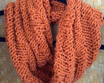 Orange knit infinity cowl scarf
