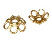 TWO Bali Gold Vermeil Open-Work Bead Caps, 4.5mm x 10mm, 2mm hole, bright gold finish, Artisan-made jewelry supplies, earrings