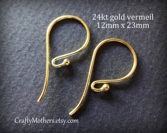 Take 15% off with 15OFF20, TWO Pairs Bali 24kt Gold Vermeil Ball Ear Wires (4 pieces), 23mm x 12mm, Artisan-made supplies, precious metals