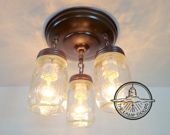 Mason Jar LIGHT FIXTURE New PINT Trio - Flush Mount Farmhouse Ceiling Chandelier Pendant Lighting Rustic Kitchen Ball Track Fan by LampGoods